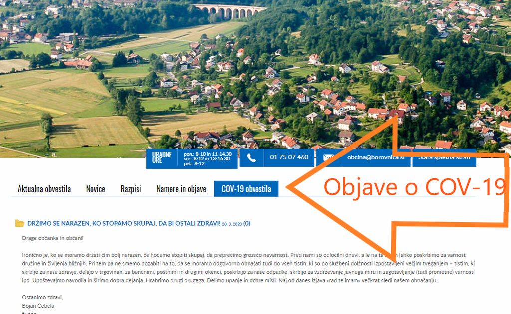 Posebni zavihek objav o COVID 19 na spletni strani Občine Borovnica