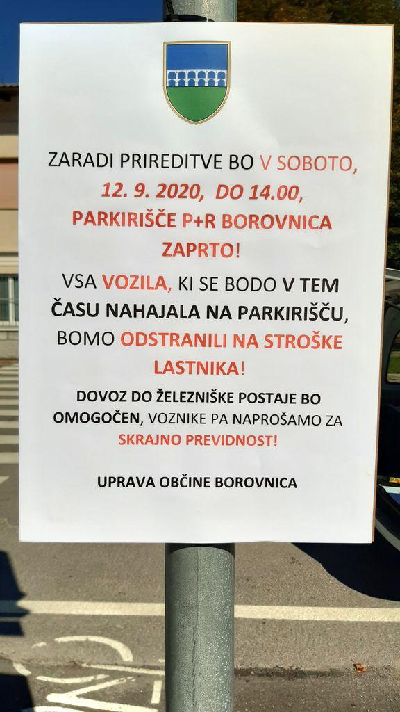 Prepoved parkiranja na P+R Borovnica 12. 9. 2020