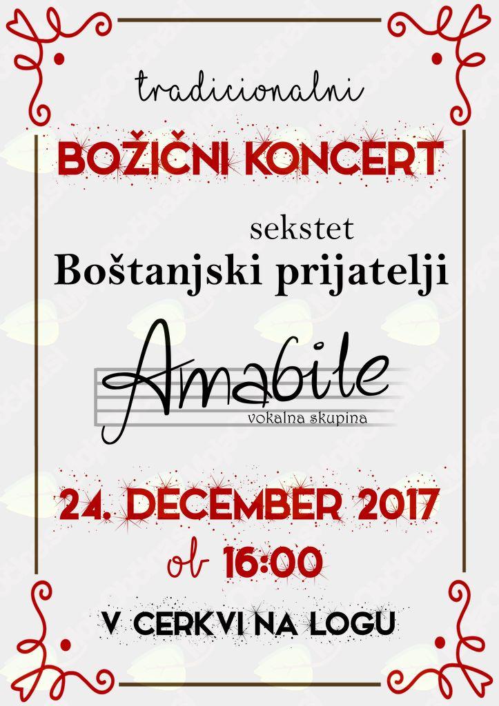 Božični koncert vokalne skupine Amabile na Logu pri Sevnici