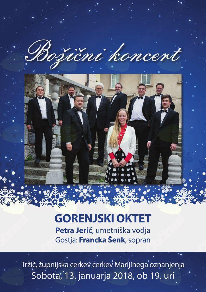 Božični koncert Gorenjskega okteta s sopranistko Francko Šenk