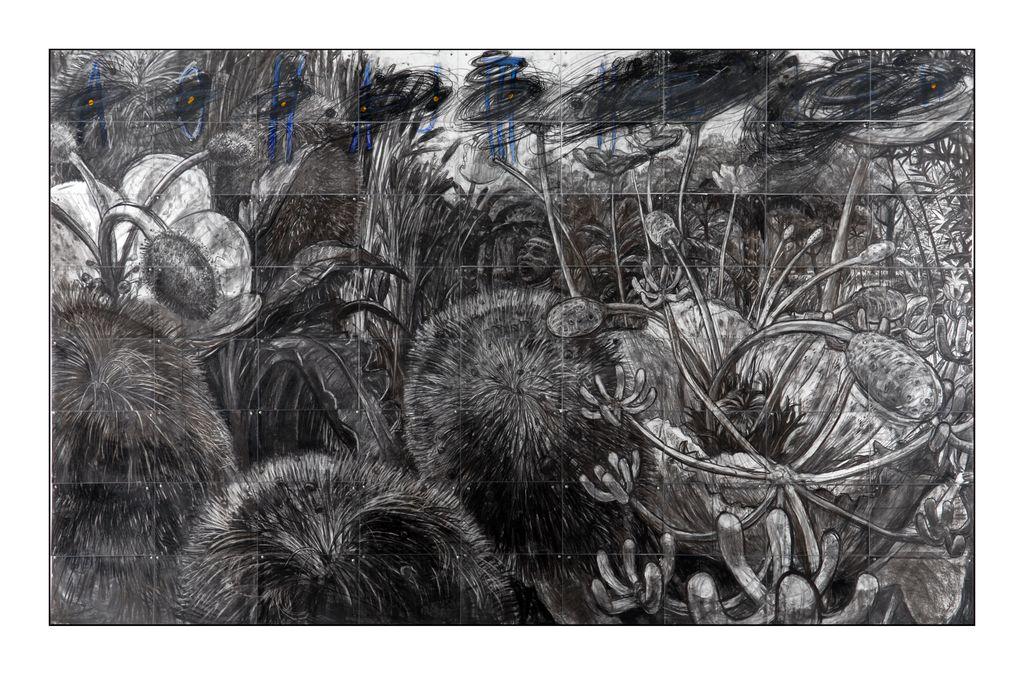 M. Erič, Pesem, 2008, 240 x 360 cm, oglje na papirju