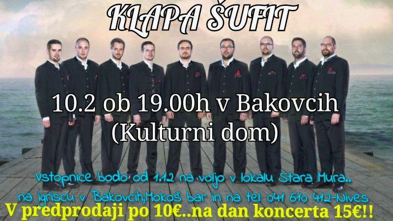 Koncert KLAPE ŠUFIT v Bakovcih!