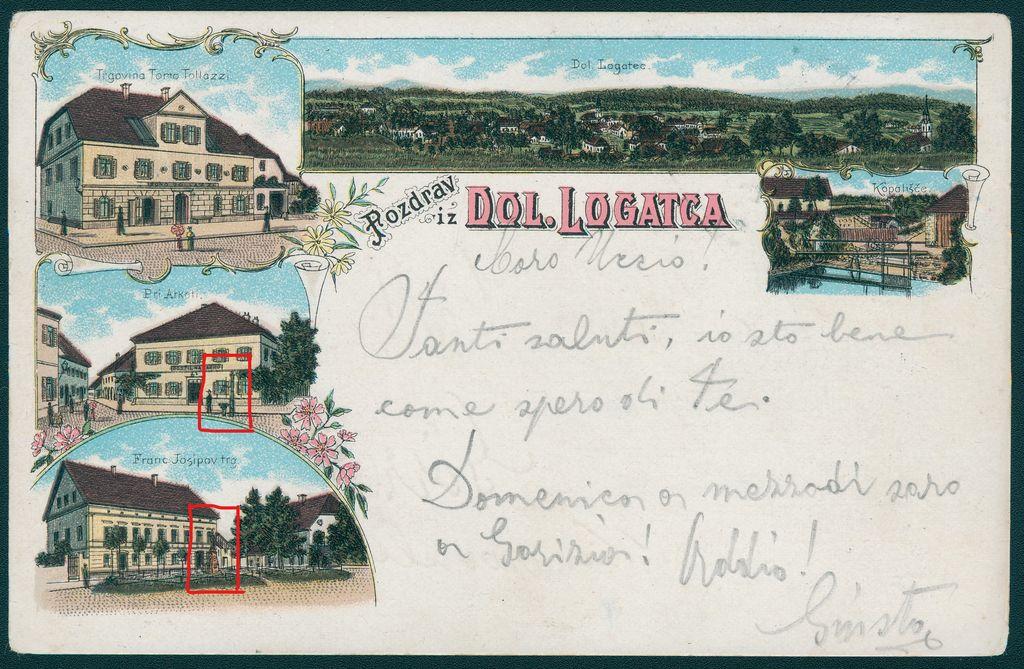 Litografija s podobami iz Dolnjega Logatca, poslana leta 1899. Na njej sta že litoželezen vodnjak z nimfo na Čevicah iz Salmove livarne in pitnik pred kapelico sv. Jožefa (vir: Zbirka starih razglednic Knjižnice Logatec)