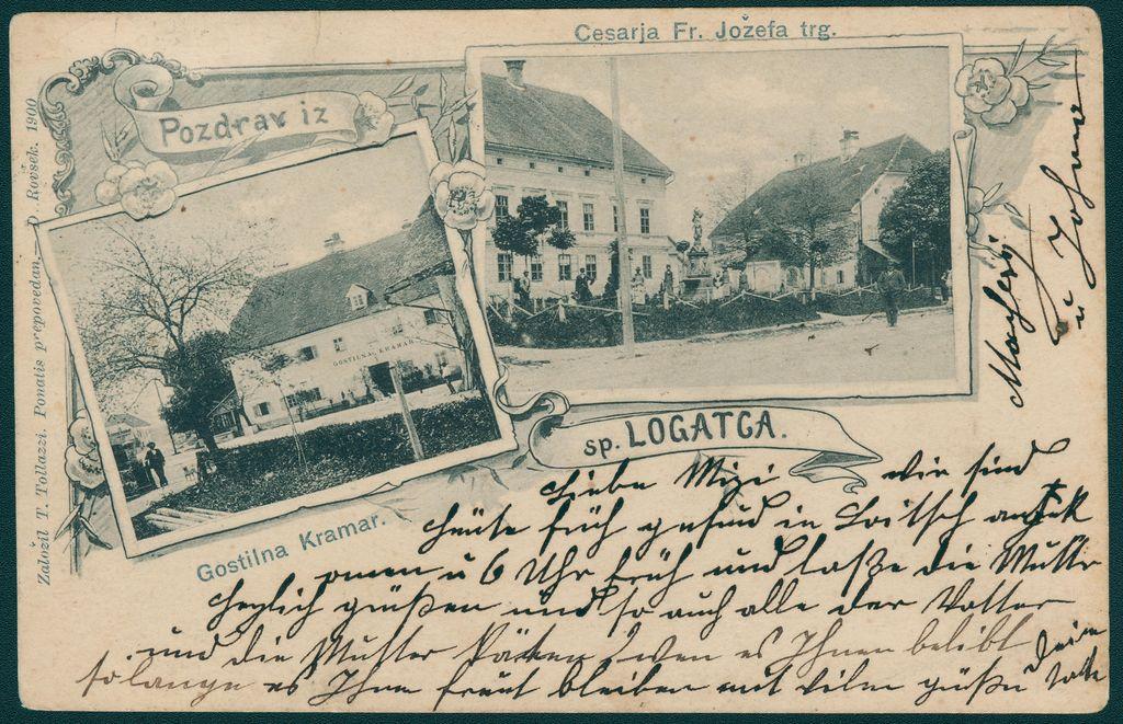 Razglednica Dolnjega Logatca (fotografski atelje Danijela Rovška, založil Tomo Tolazzi, 1900; vir: Zbirka starih razglednic Knjižnice Logatec)