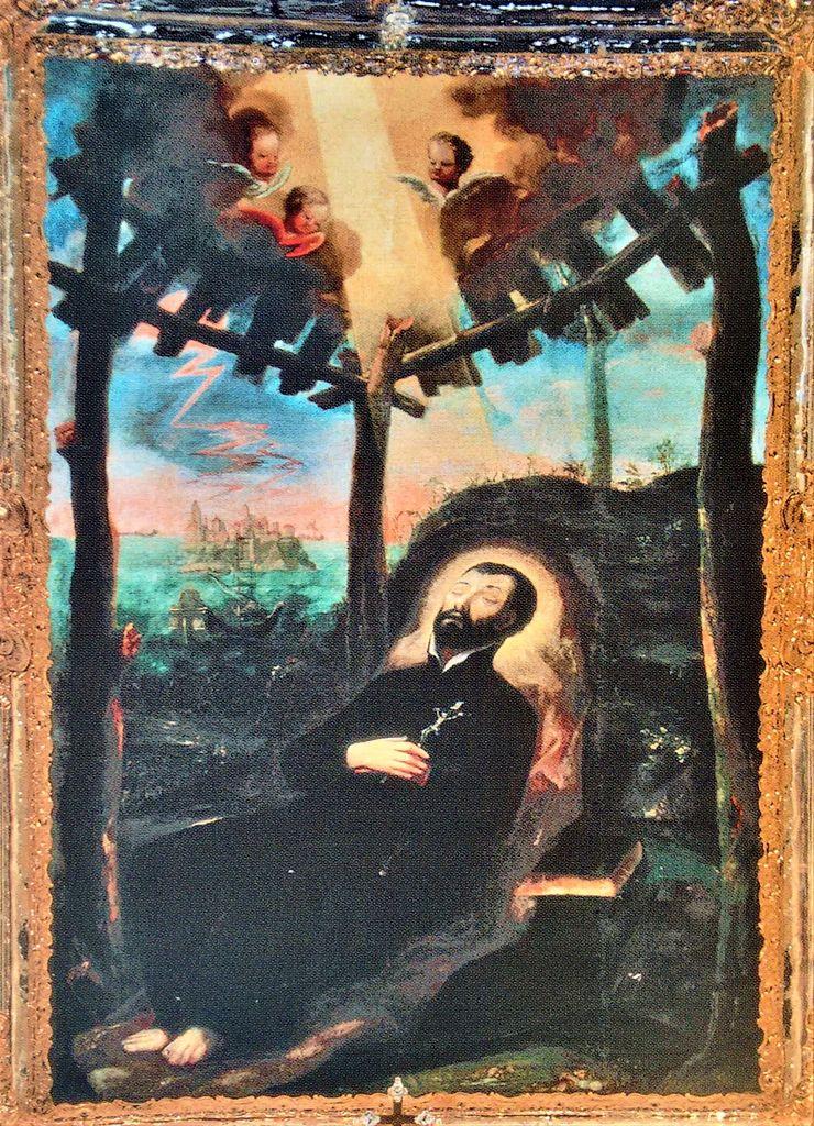 Janez Mihael Reinwaldt, čudodelna slika Mrtvi sv. Frančišek Ksaver na obali Sanciana (vir: Komelj, Svetniki…, str. 152)