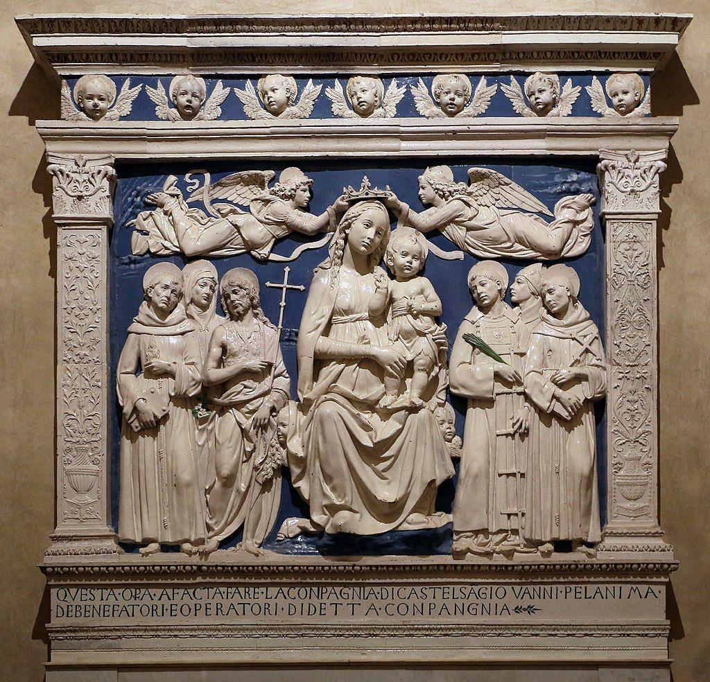 Firenze, Santa Croce, Cappella del Noviziato/ dei Medici, Andrea della Robbia, Marija z Detetom, angeloma in svetniki, ok. 1480 (vir: https://mail.google.com/mail/u/0/#inbox/QgrcJHsBvFKTPpLfcbTDqgwNWMTDXZBHVXG?projector=1&messagePartId=0.2, junij 2019)