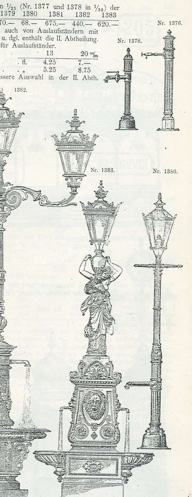 Izrez lista iz kataloga Sigmunda Juhásza z modelom št. 30 ornamentalnega vodnjaka Salmove livarne (©Fondazione Neri – Museo Italiano della Ghisa/Italian Museum of Cast Iron)