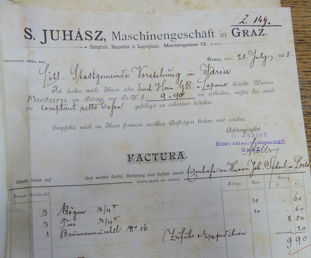 Faktura Sigmunda Juhásza, poslana iz Gradca v Idrijo, 1885 (ZAL, Enota v Idriji)