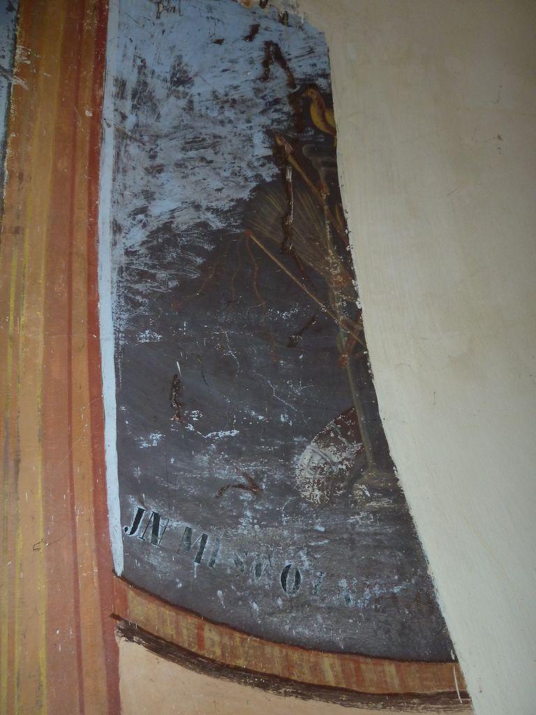 Desni del poslikave z Arma Christi in napisom (foto: S. K.)