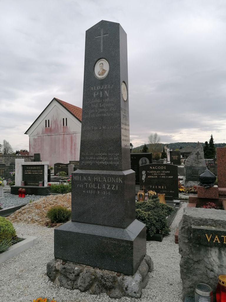 Nagrobni spomenik Alojzija Pina na pokopališču v Dolnjem Logatcu (foto: S. K.)