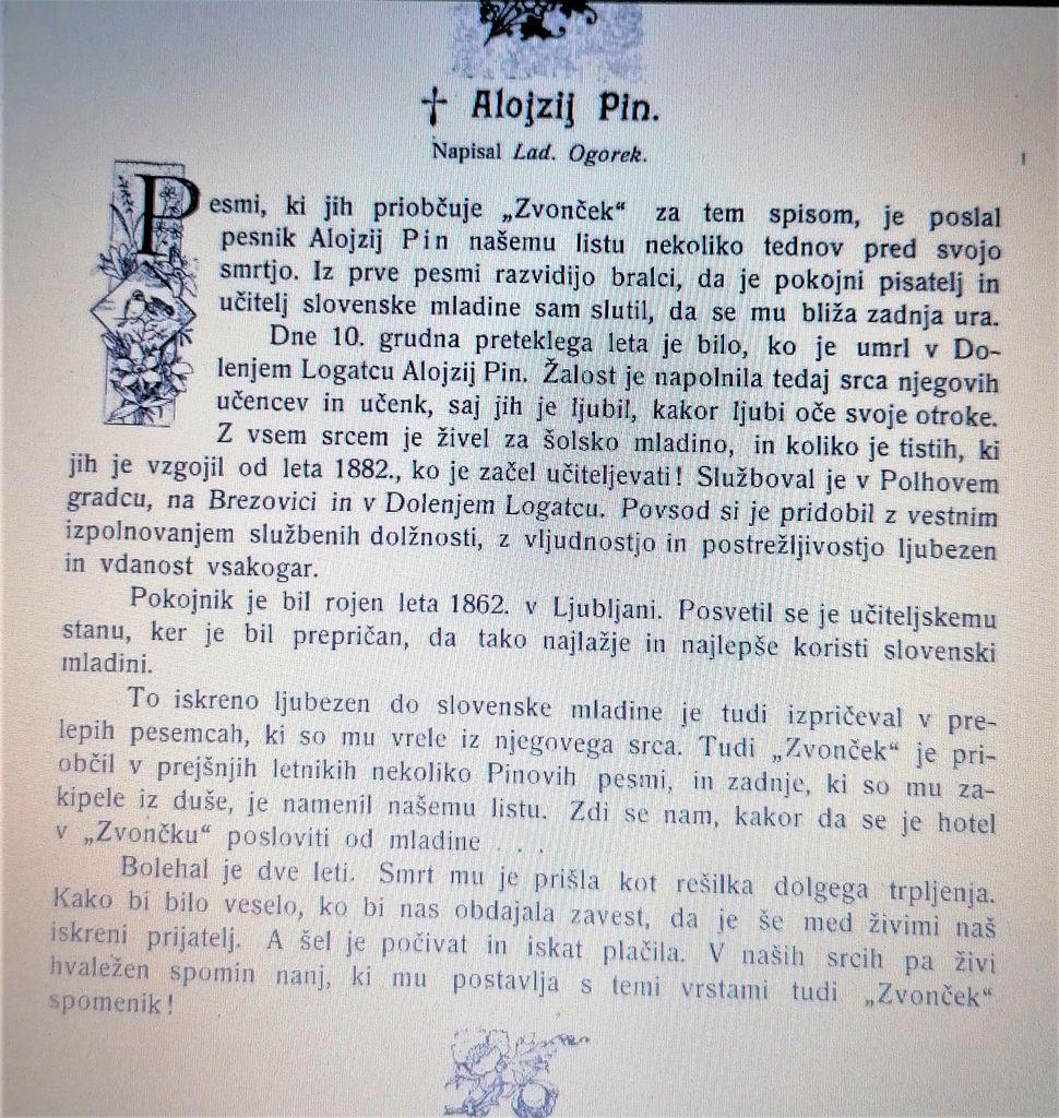 Osmrtnica Alojzija Pina (vir: Zvonček, 1. 1. 1906)