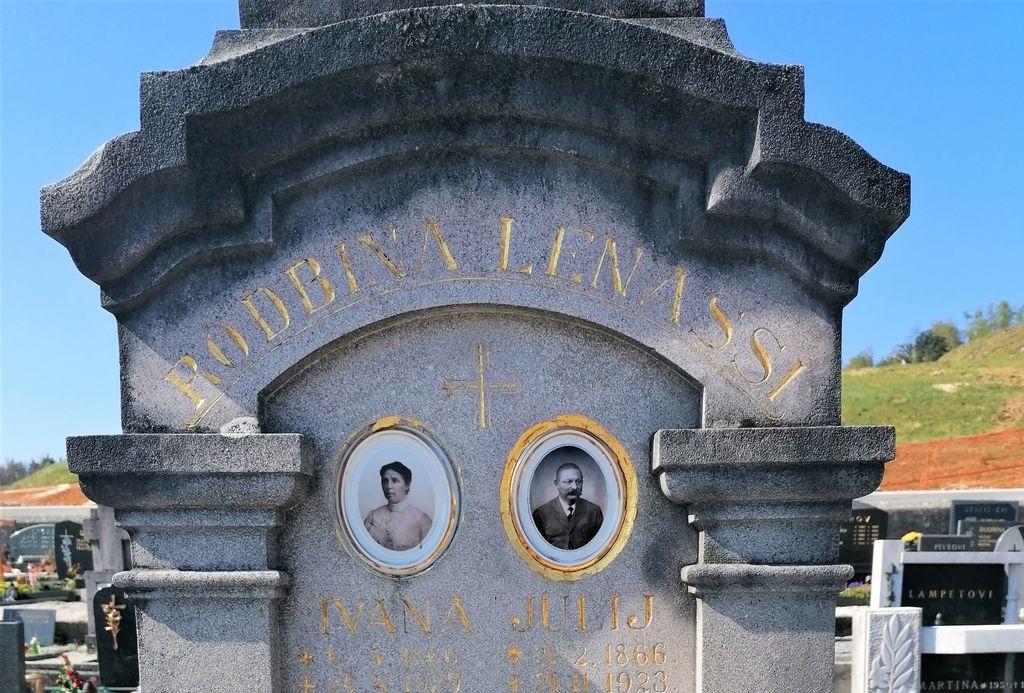 Nagrobni spomenik Lenassi v Gornjem Logatcu, izrez (foto: S. K.)