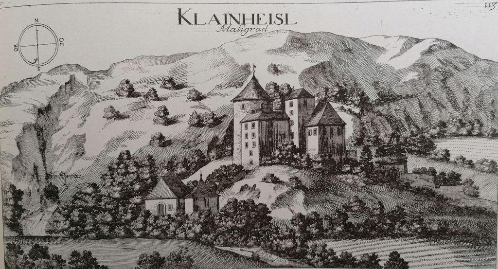 Janez Vajkard Valvasor, Klainheisl Mali grad, Topographia Ducatus Carnioliae modernae. Topografija sodobne vojvodine Kranjske, 1679 (faksimilirana izdaja, Ljubljana 1995), sl. 113.