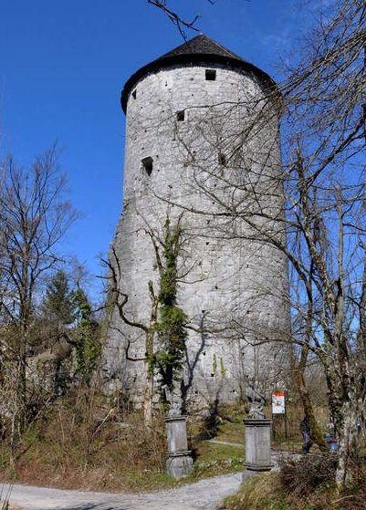 Ravbarjev stolp: na tej starejši fotografiji kipa obeh živali še flankirata dohod do stolpa (vir: Kraji – Sovenia. https://kraji.eu/slovenija/mali_grad_rauberjev_stolp/eng, september 2020)
