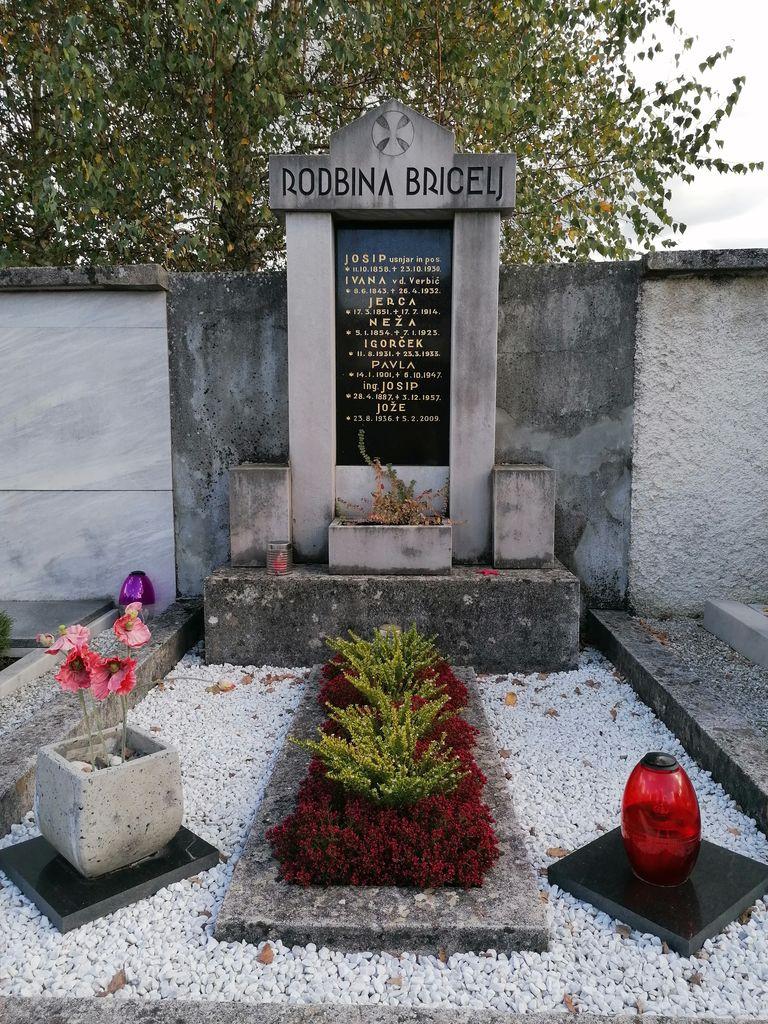 Franjo Kunovar ml., nagrobni spomenik družine Bricelj na vrhniškem pokopališču (foto: S. K.)