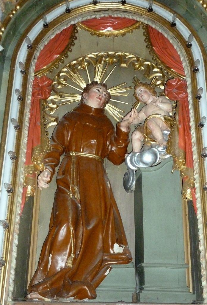 4.Župnijska cerkev v Hotedršici, Jurij Tavčar (pripisano): sv. Anton Padovanski z Detetom v tronu levega stranskega oltarja
