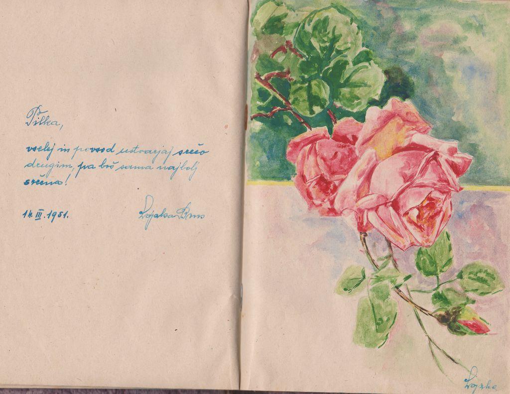 »Tilka, vselej in povsod ustvarjaj srečo drugim, pa boš sama najbolj srečna!«, zapis z ilustracijo Alojzije Brus v spominsko knjigo Tilke Jerič, 14. 3. 1951 (vir: osebni arhiv T. J.)