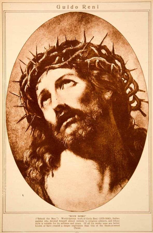 Ecce Homo, grafika po Guidu Reniju, 1923 (vir: https://www.periodpaper.com/products/1923-rotogravure-ecce-homo-guido-reni-crucified-christ-crown-of-thorns-painting-240179-rto6-040, januar 2021)