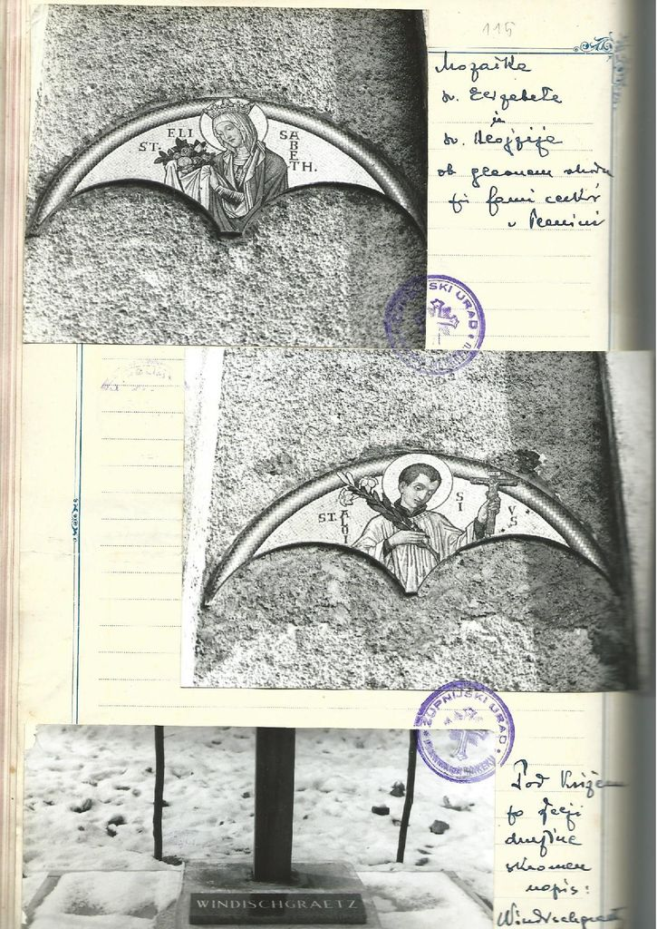 Stran iz Župnijske kronike Planine 1931–2000. III. s priloženimi fotografijami gospoda župnika Debevca [str. 114].