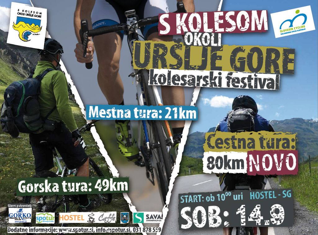 S KOLESOM OKOLI URŠLJE GORE - KOLESARSKI FESTIVAL - PRESTAVLJEN NA 14.9.