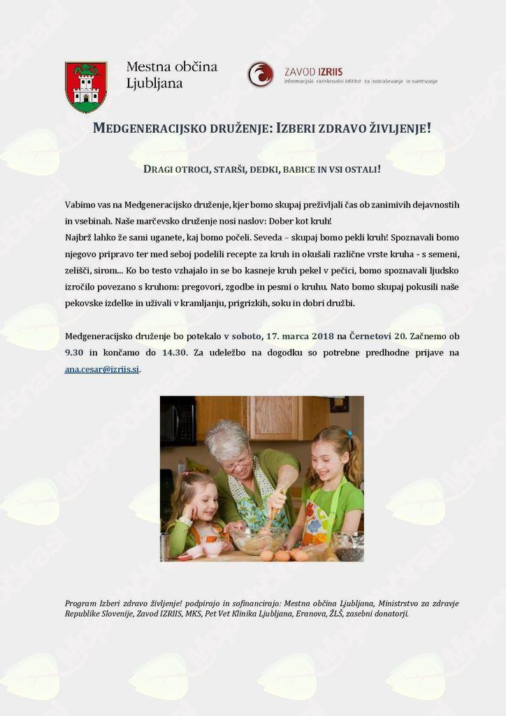 Medgeneracijsko druženje - Izberi zdravo življenje!