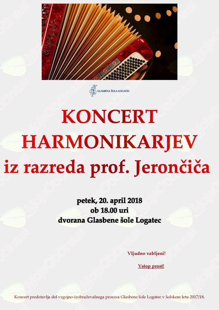 Nastop harmonikarjev iz razreda prof. Jerončiča