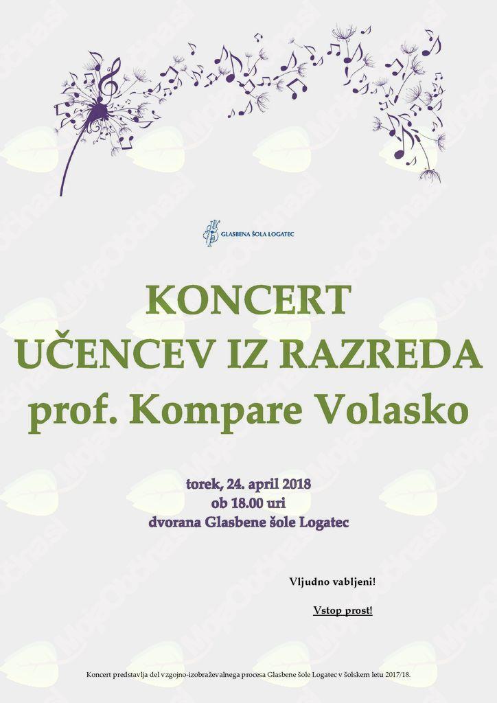 Koncert oddelka za petje iz razreda N. Kompare Volasko
