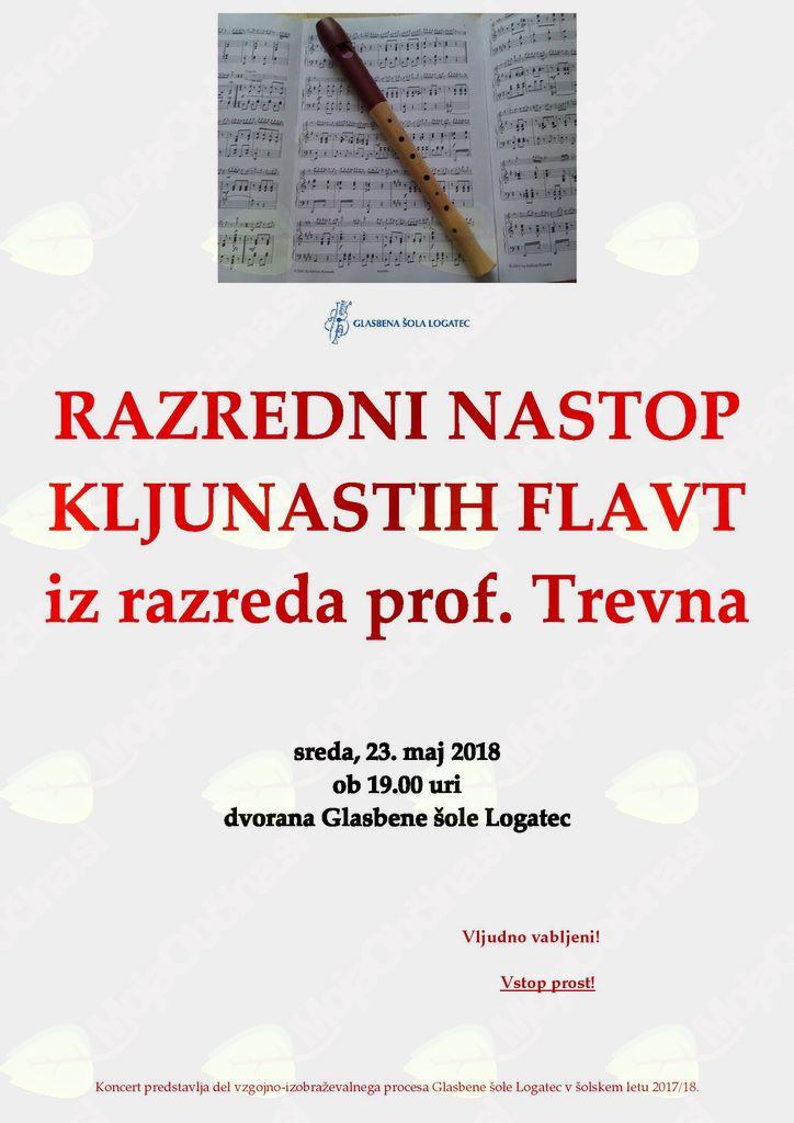 Razredni nastop kljunastih flavt iz razreda prof. Trevna