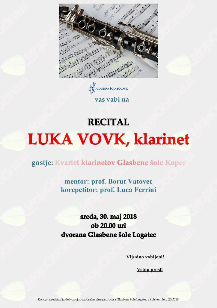 Recital, Luka Vovk - klarinet