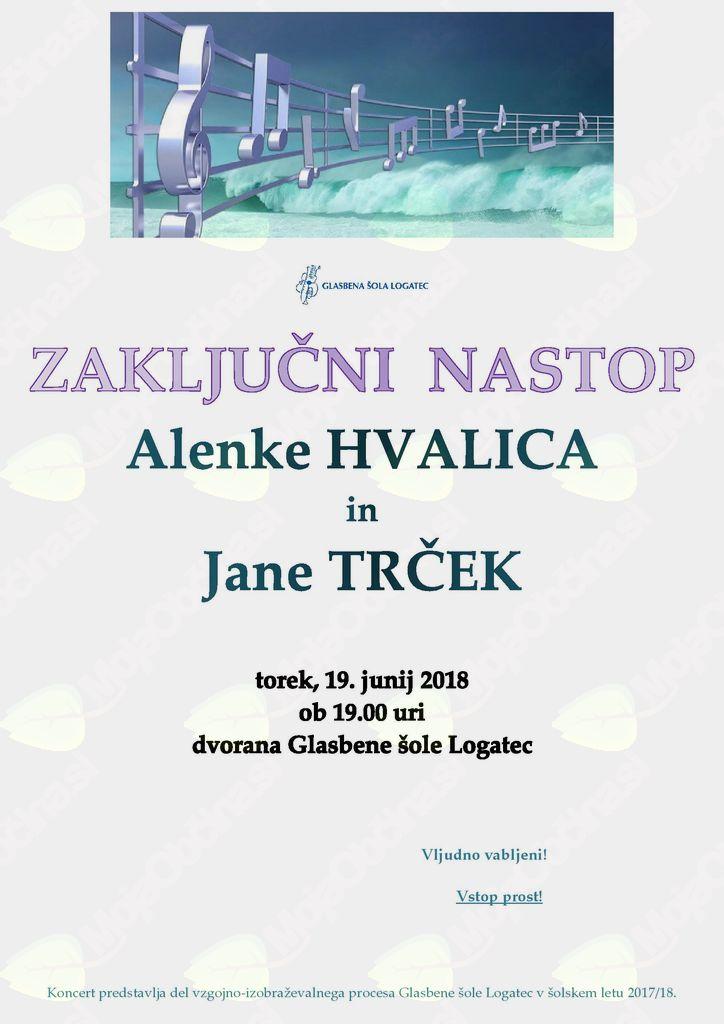 Zaključni koncert Alenke Hvalica in Jane Trček