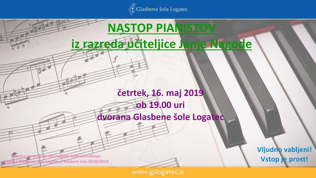 Koncert pianistov iz razreda učiteljice Janje Nagode