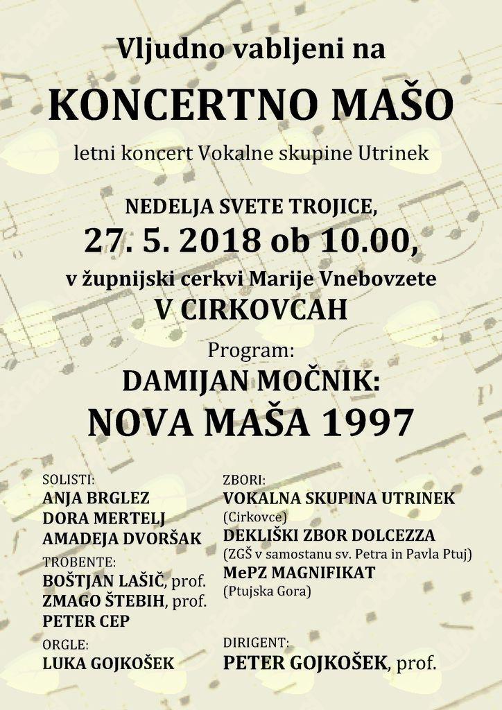 KONCERTNA MAŠA - letni koncert Vokalne skupine Utrinek