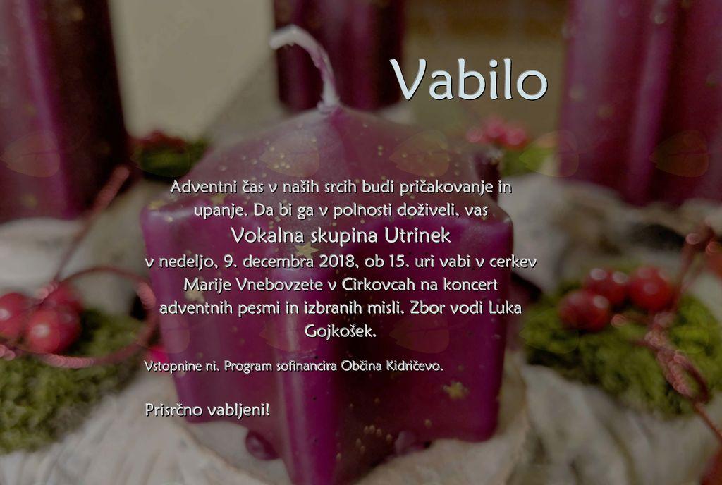 Adventni koncert Vokalne skupine Utrinek