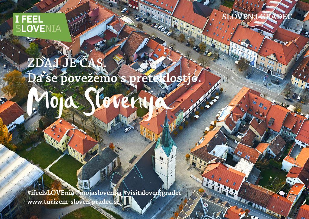 Srednjeveško mestno jedro Slovenj Gradca iz zraka, avtor Tomo Jeseničnik