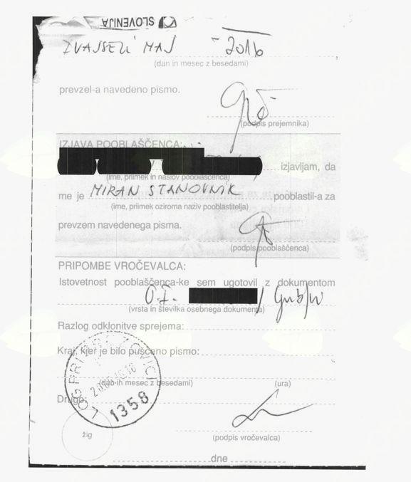 Poštna povratnica (faksimile hrani uredništvo) izkazuje, da je bila ta prevzeta šele 20. maja, torej 37 dni po tistem, ko je župan oddal vlogo.