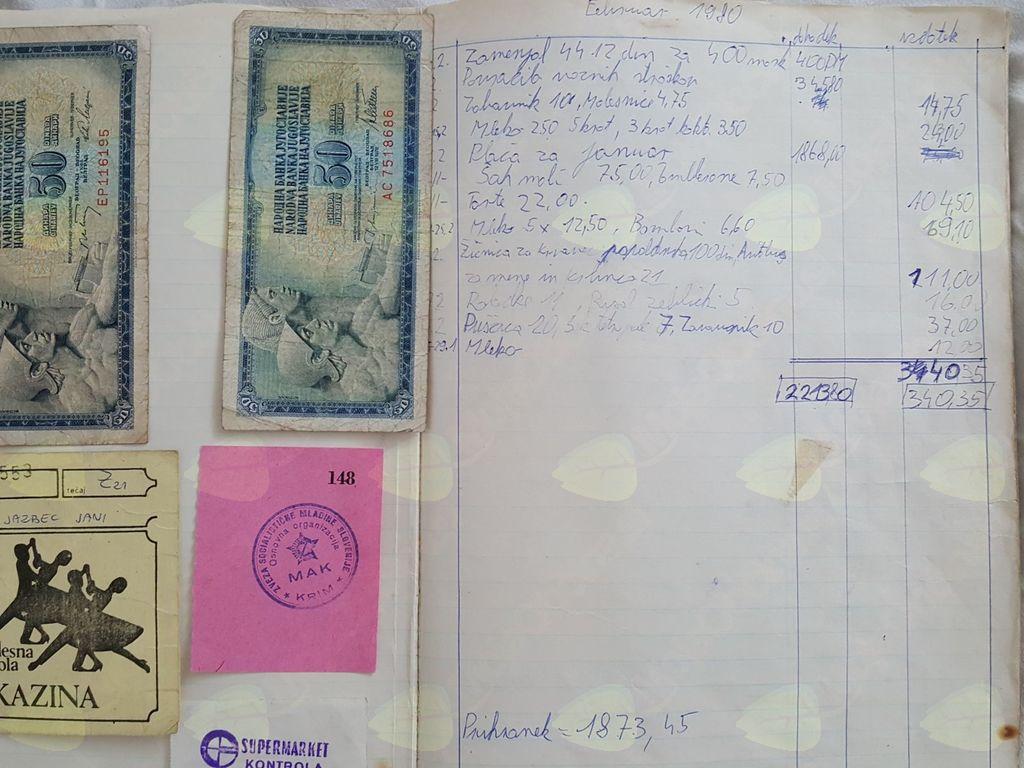 Janijev zvezek finančnih prilivov in odlivov iz leta 1980.