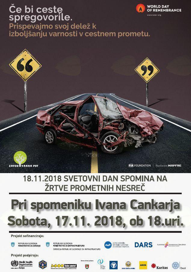 """Vabilo na spominsko slovesnost ob """"Svetovnem dnevu spomina na žrtve prometnih nesreč"""""""