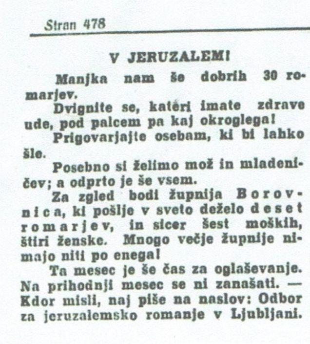 Članek v časniku Domoljub : »V Jeruzalem« (28. 7. 1910)