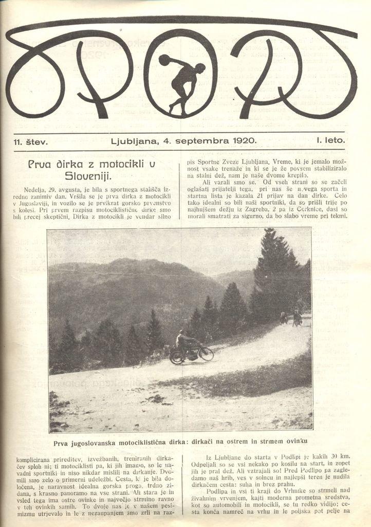 Naslovnica revije Sport, ki je prva poročala o dirki.