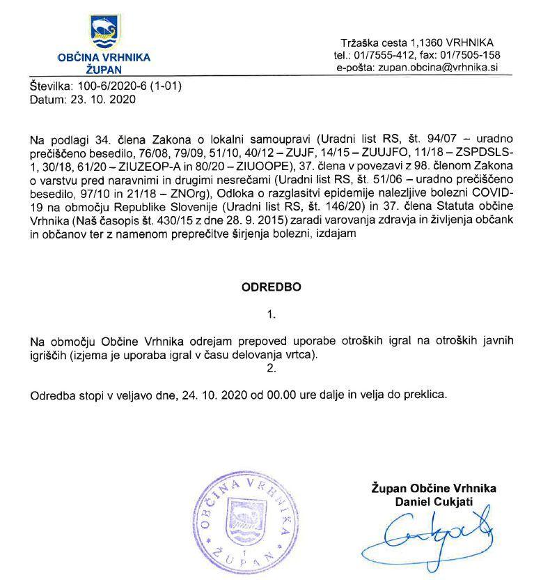 Županova odredba: prepoved uporabe otroških igral