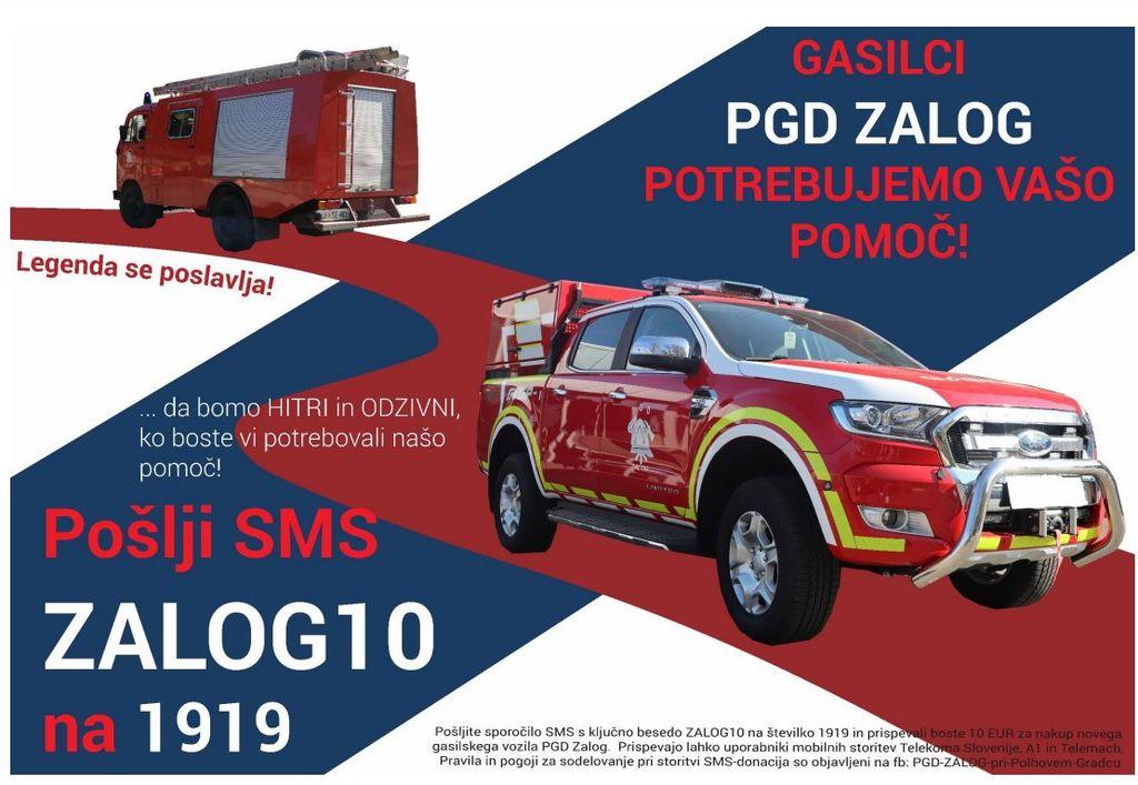 V mesecu maju pošljite ZALOG10 na 1919 in podprite gasilce iz PGD Zalog
