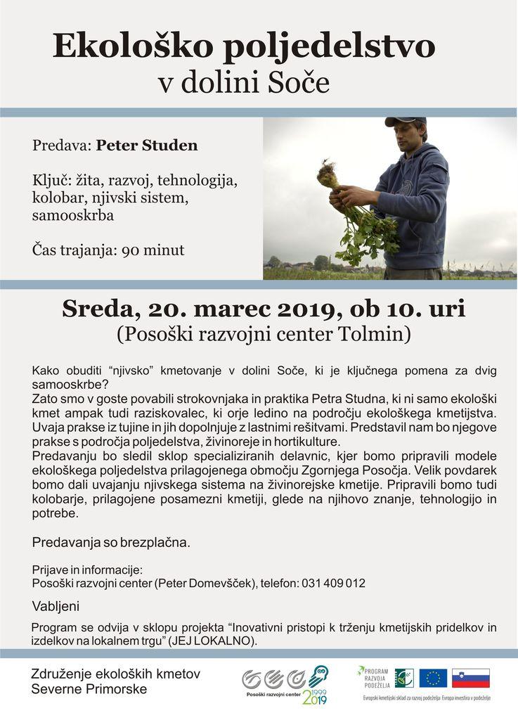 """Predavanje Petra Studna """"Ekološko poljedelstvo v dolini Soče"""""""