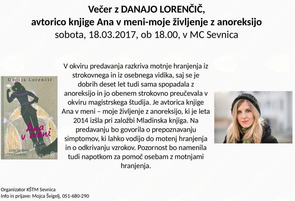 Večer z Danajo Lorenčič-življenje z anoreksijo