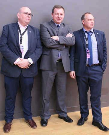Na tekmovanju Paris Open 2016: Rick Frowyn, generalni sekretar, Robert Perc, Michael Korn, prvi podpredsednik