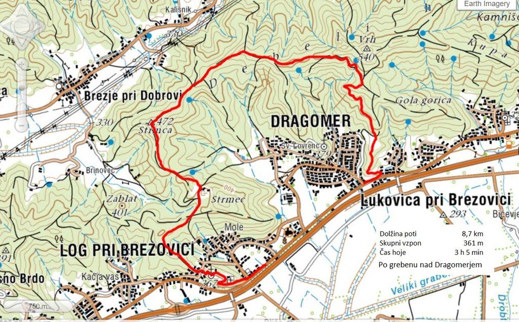 Zemljevid prehojene poti