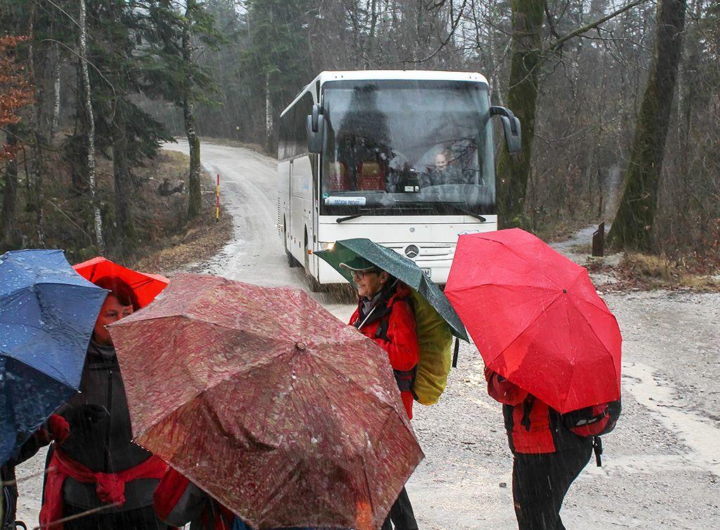 Veseli smo bili avtobusa, ki nas je mokre do srede stegen odpeljal domov