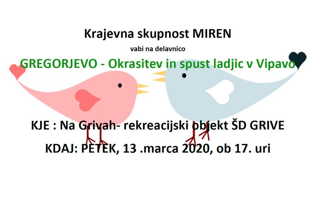 Gregorjevo  2020 v Mirnu