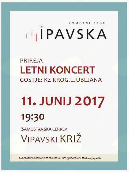 Letni koncert Komornega zbora Ipavska z gosti