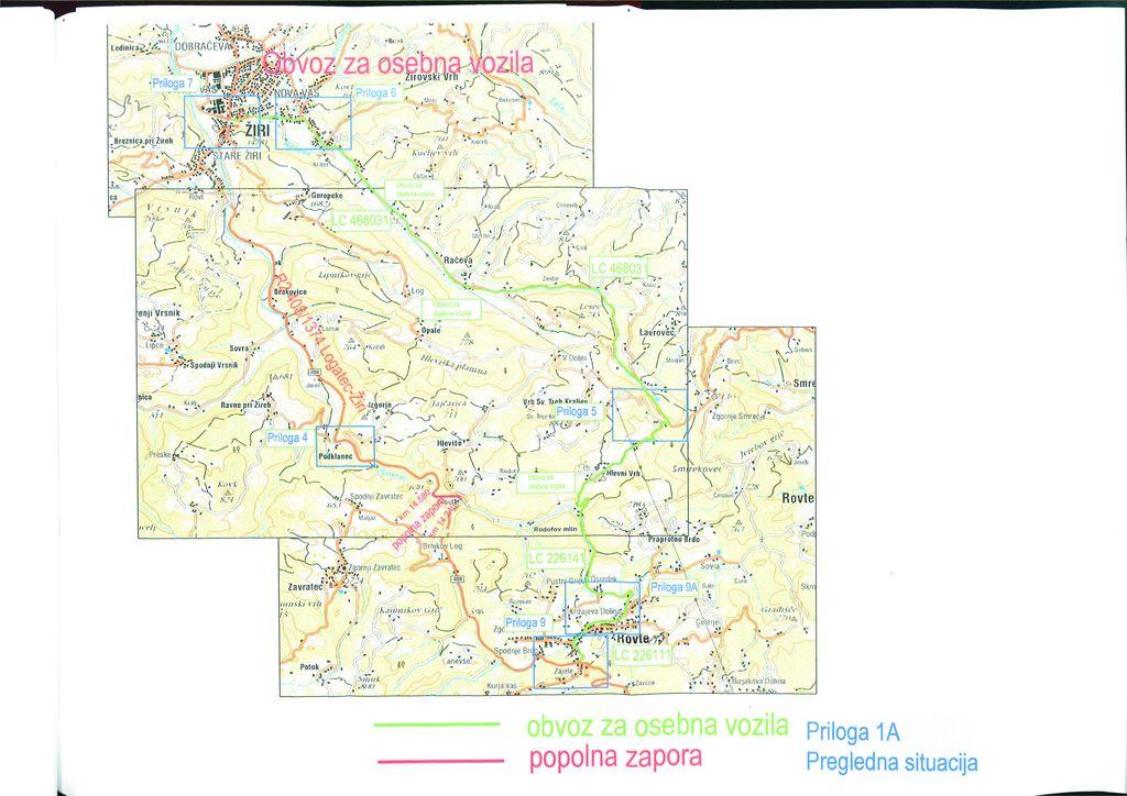 Zapora in obvoz po občinskih cestah Rovte - Hlevni vrh - Vrh Svetih Treh Kraljev - Žiri