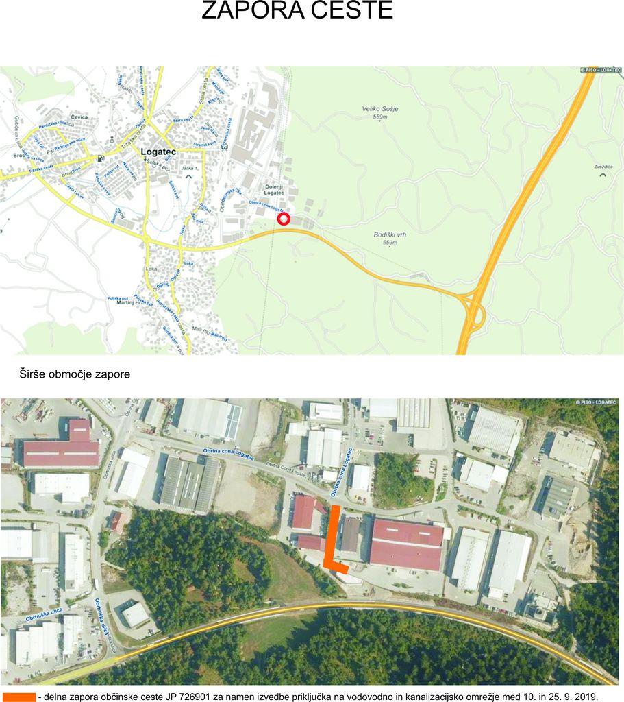 Zapora ceste - industrijska cona